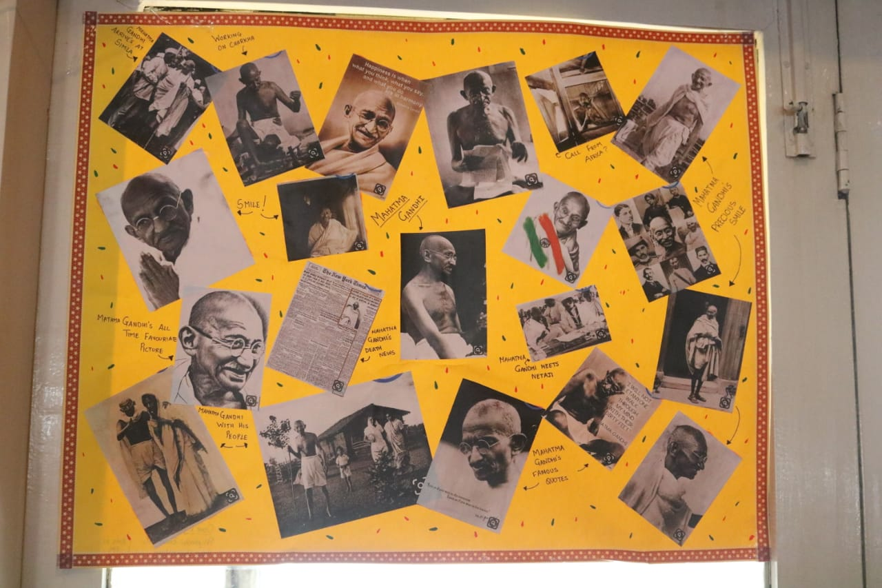Dept of Politics students - Poster making and display on the occassion of 150th Birth Anniversary of Gandhiji