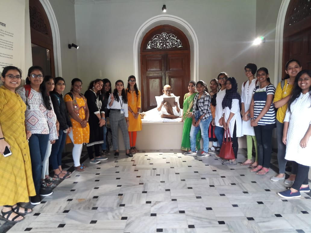 Dept of Politics students with their teacher Mrs. Anita D Cunha at the Gandhi Memorial Society on the occassion of 150 th Birth Anniversary of Gandhiji