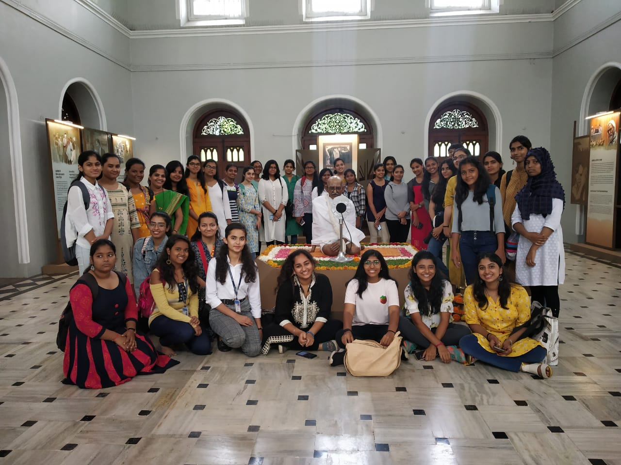 Dept of Politics students with their teacher Mrs. Anita D Cunha at the Gandhi Memorial Society on the occassion of 150th Birth Anniversary of Gandhiji