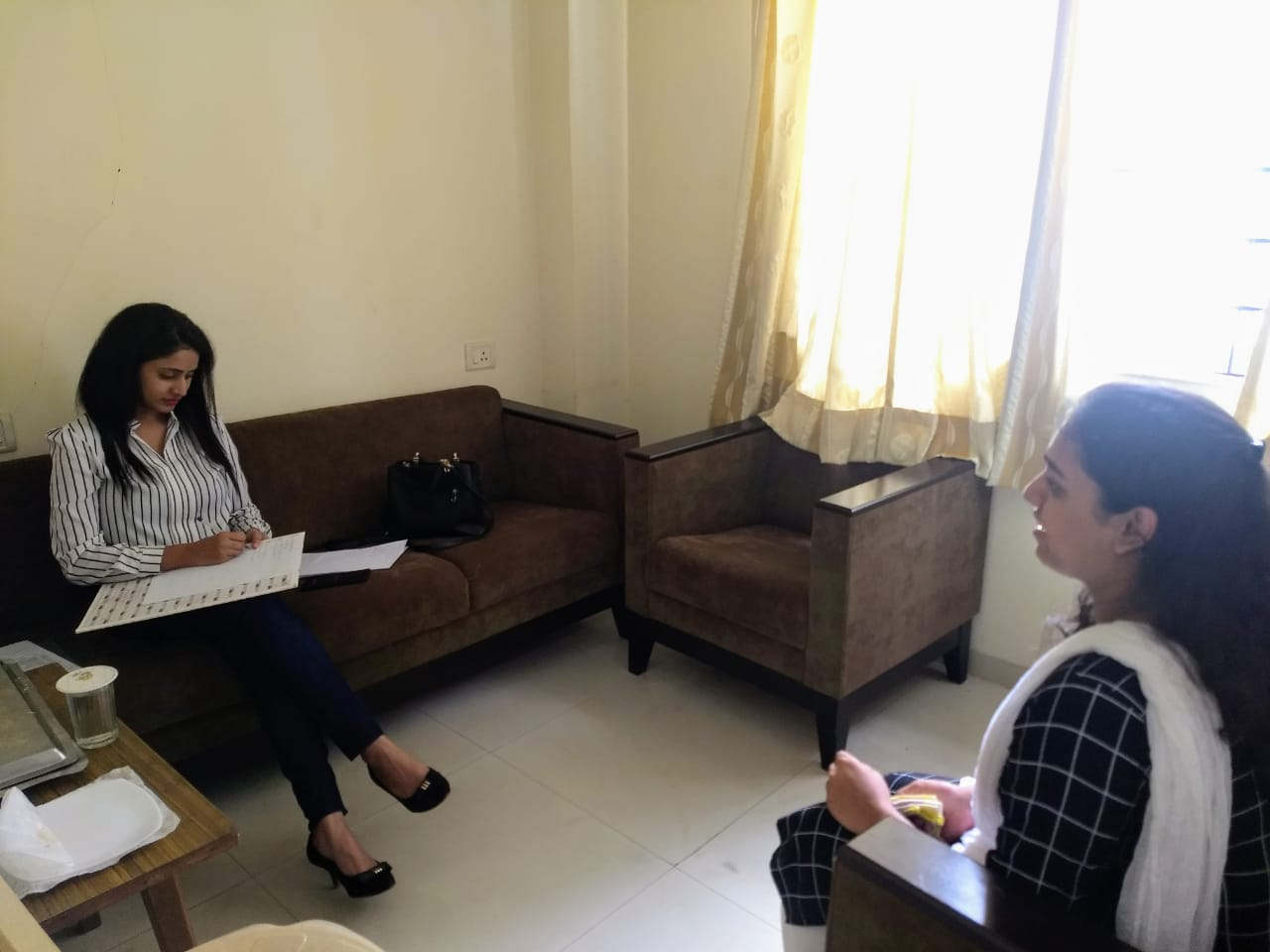 Miss Swati of GoMo Group conducting personal interview round for the candicates