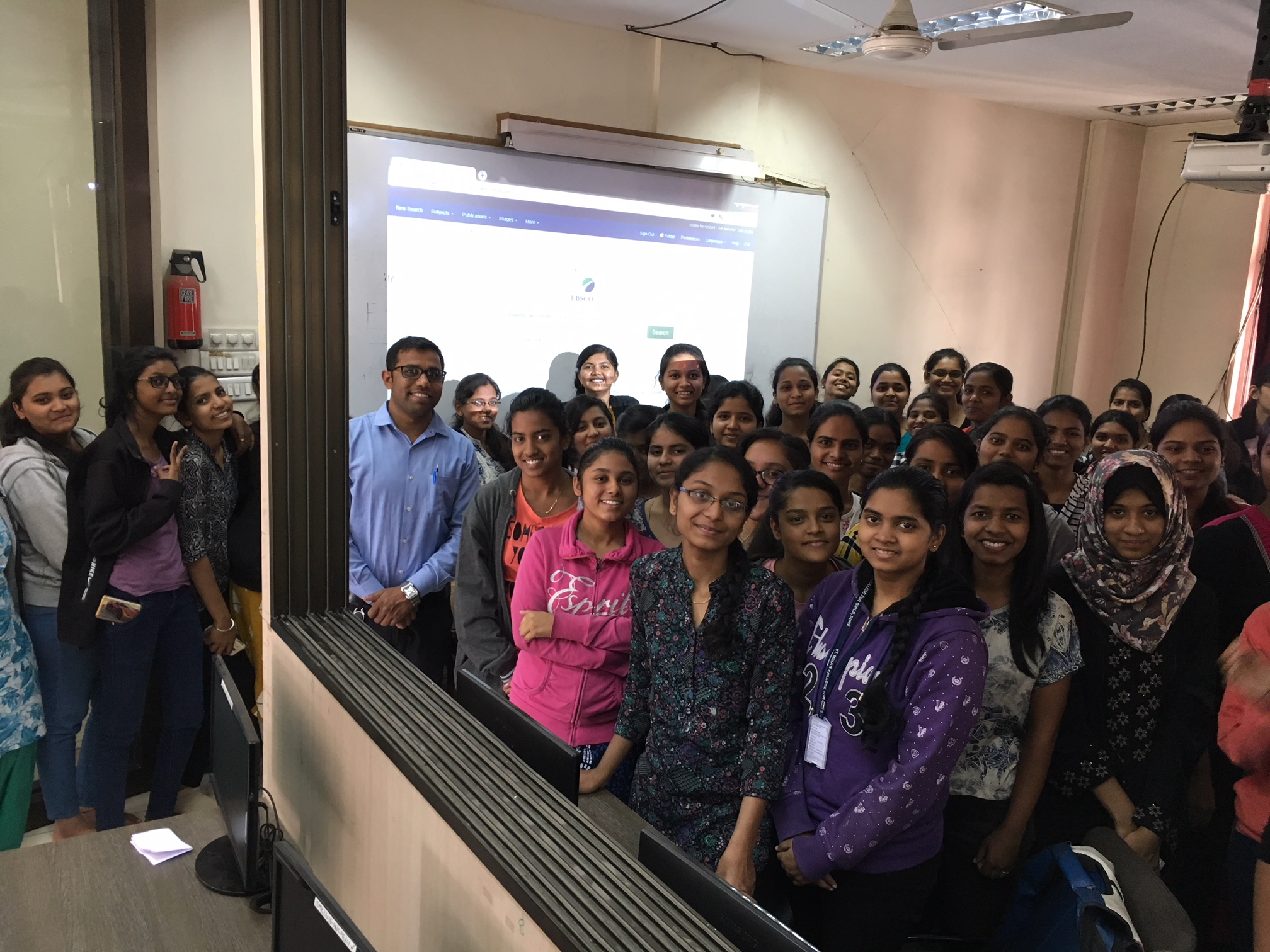 B Sc - Comp Sc students with the trainer