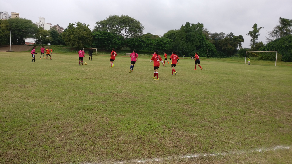 Inter Collegiate football team while playing match