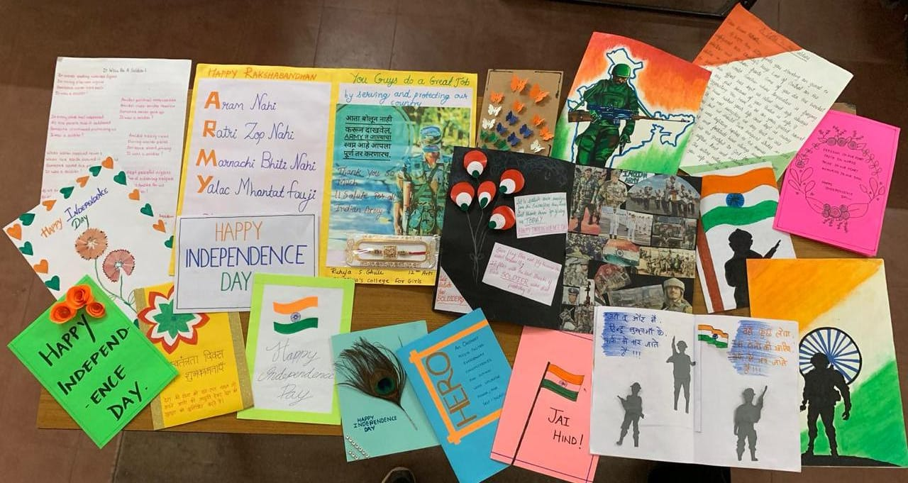 Dept of Politics and Pub Adm - Making of Greeting cards for our soldiers on the occassion of Independence Day