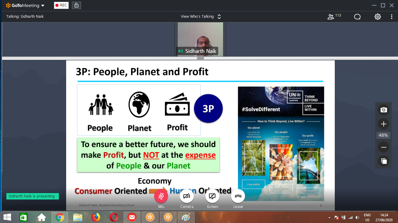 Rebooting Mother Earth- Green Club WebinarResource Person_ Mr. Siddharth Naik adressing the participant