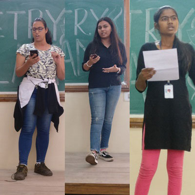 Winning Performers at the Poetry Slam. From Left- Friyana Munshi (First Prize), Mayuri Makwana (Second Prize), Priyanka Chaurasia (Third Prize)