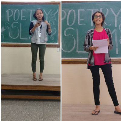 Participants performing at the Poetry Slam