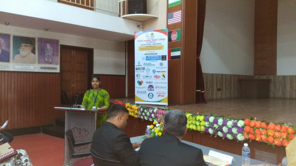 Paper Presentation at Interrnational Conference held on 18th & 19th Jan,2019 at Abeda Inamdar college