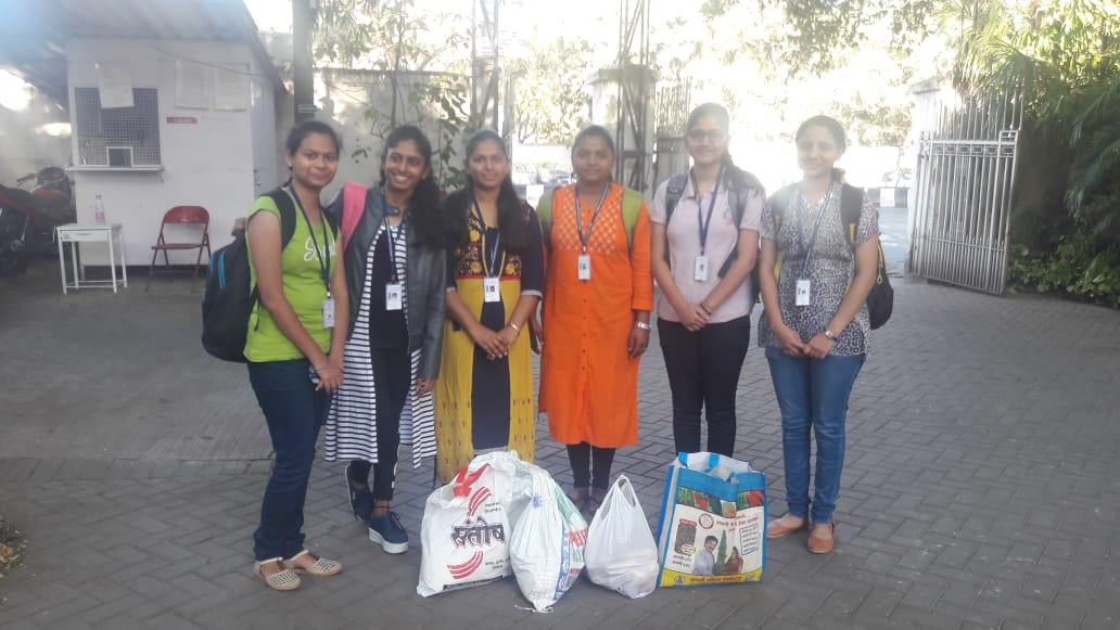 Students taking material for Lunch to DeepGriha