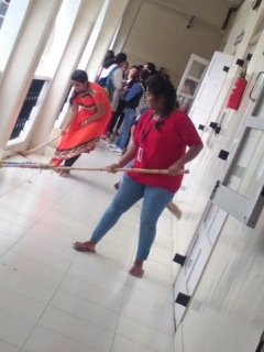 Swacchata Pakhwada Green Club members Cleaning their College